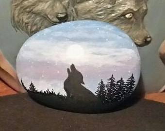 Hand Painted River Rock, Howling Wolf