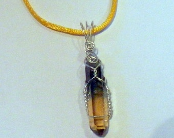 Wrapped in Silver - Hybrid Tangerine - green - crystal point pendant