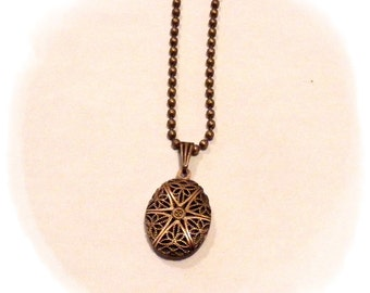 Essential Oil Diffuser Pendant Necklace - Oval Filigree Locket