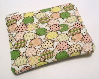 Coin Purse - Hedgehog - Small Zippered Pouch - Pink Green