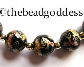 5 Beautiful Japanese TENSHA Beads Dragonflies on Black 12mm