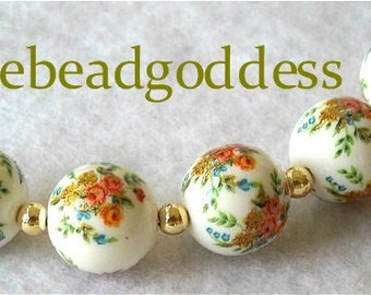 JAPANESE TENSHA BEADS Triple Rose Bouquet White 12mm-5 pieces
