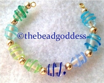 Lampwork Glass 'Study' Ombre Colors Blue to Green Oval Beads 9x7mm