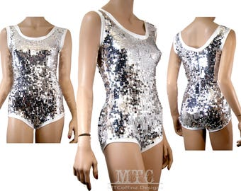 dabc6f5579 Sequin Bodysuit Sequined Playsuit silver flashbulb romper sheer mesh  lingerie rave festival leotard photoshoot MTcoffinz MTC