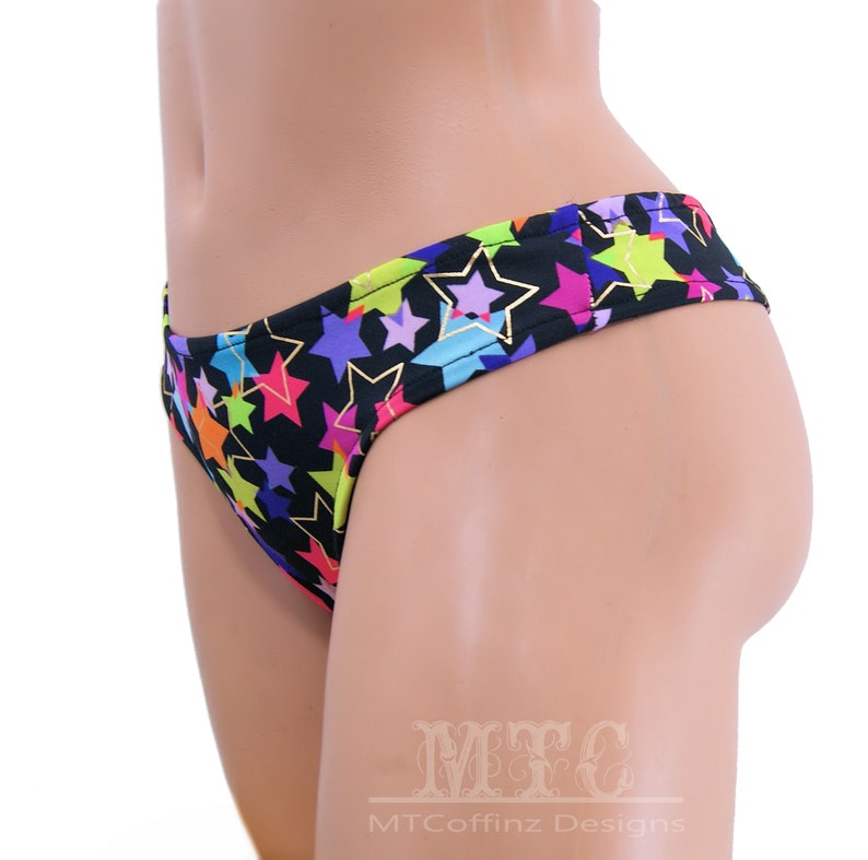 MTCoffinz Neon Stars UV Reactive Rave Thong Underwear Swim Suit Festival Cheeky rave outfit Lingerie Panties  Adult All Sizes