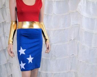 Wonder Superhero BodyCon Tank Dress Cosplay Costume Adult All Sizes MTCoffinz