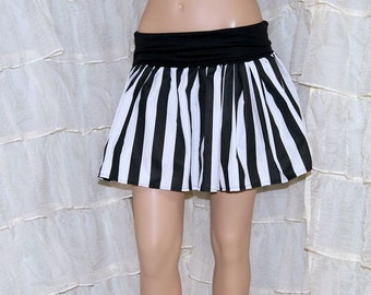 Black and White Stripes striped  Twirl Skirt Yoga waistband ALL SIZES Toddler to Adult- MTCoffinz