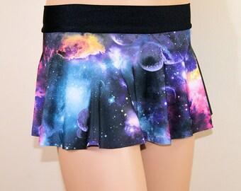 Black Galaxy Nebula Circle Twirl Skirt Adult All Sizes- MTCoffinz