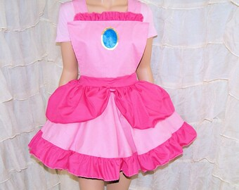 Princess Peach Pink Ruffled Pinafore Apron Costume Skirt Adult ALL Sizes - MTCoffinz