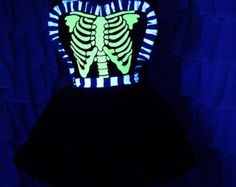 Glow in the Dark Ribcage Black and White Stripes Pinafore Apron Costume Skirt Adult ALL Sizes - MTCoffinz
