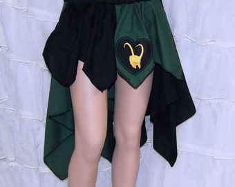 Loki Gold Helmet Heart Embroidered Bustle Flare Skirt Adult ALL Sizes - MTCoffinz