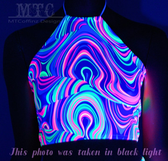 Neon Rainbow Acid Trippy Psychedelic UV Reactive Corset lacing adjustable size boho Rave Festival Halter Top  Ready To Ship