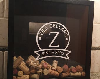 Bridal Shower Gift - Wine Cork Shadow Box - Custom with Last Name and Date