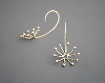 Sterling silver flower bud earrings, Rachel Wilder handmade Jewelry
