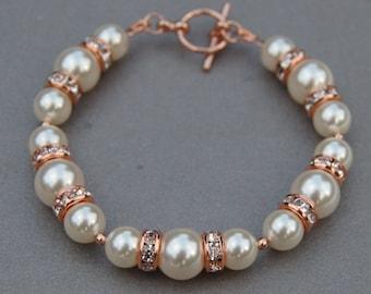 Pearl Rose Gold Bracelet, Bridal Jewelry, Brides Bracelet, Pearl Jewelry, Bridesmaid Gifts, Romantic Wedding