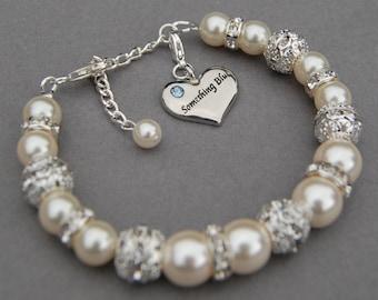 Something Blue Bracelet, Bridal Jewelry, Something Blue for Bride, Bridal Gift, Brides Bracelet, Ivory Pearl Bracelet