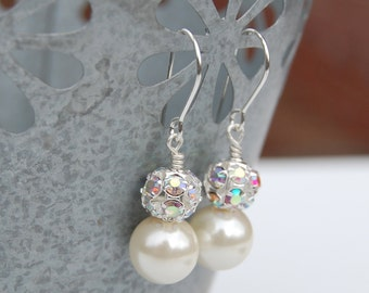 Pearl Earrings, Pearl Wedding Jewelry, Sparkling Ivory Bridal Earrings, Evening Accessory, Under 20, Bridesmaid Earrings, Wedding Party