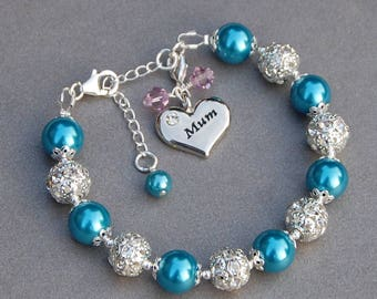 Mothers Day Present, Birthstone Mum Bracelet, Mummy Gift, Birthstone Mummy Jewellery, Mum Birthday Present, Gift Idea for Mum