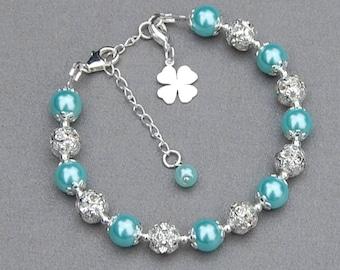 4 Leaf Clover Bracelet, Good Luck Jewelry, Leaving Gift, Lucky Charm, Silver Lucky Clover, Good Luck Bride, Lucky Bracelet, Clover for Luck