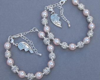 Mother Daughter Bracelets, Mother Daughter Gift, Mum Present, Mom Daughter Set, Broken Heart Jewelry, Matching Bracelets