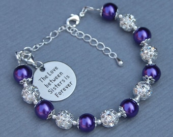 Sisters Bracelet, Sibling Jewelry, Sisterly Love, Sorority Sister, Family Birthday Present, The Love Between Sisters is Forever