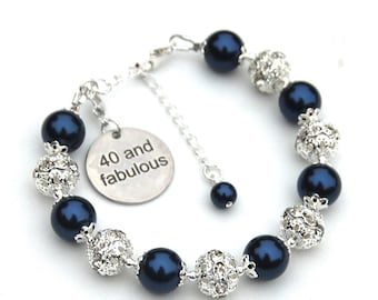 40th Birthday Jewelry Gift for Women, 40 and Fabulous, 40 Charm Bracelet, Special Birthday Jewelry, The Big 40, 40th Birthday Present