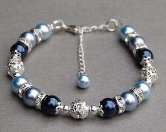 Something Blue Bracelet, Bridesmaid Jewelry, Blue Bracelet, Blue Pearl Jewelry, Something Blue for Bride, Blue Wedding