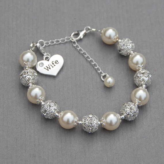 wife charm bracelet gift for wife wife jewelry gift for etsy