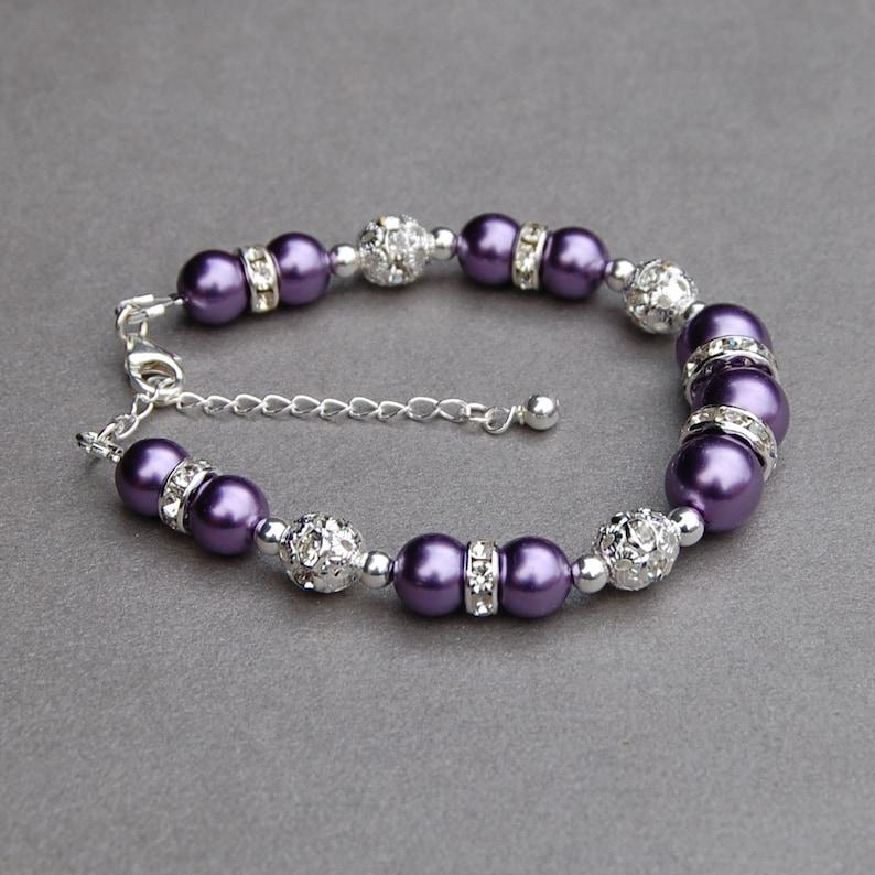 Amethyst Bridesmaid Purple Bridesmaid Jewelry Spring Wedding Purple Pearl Bracelet Ultra Violet Wedding