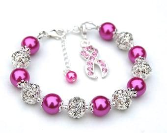 Pink Ribbon Bracelet, Cancer Awareness, Cancer Survivor Gift, Breast Cancer Gift, Pink Ribbon, Hope Bracelet, Cancer Support