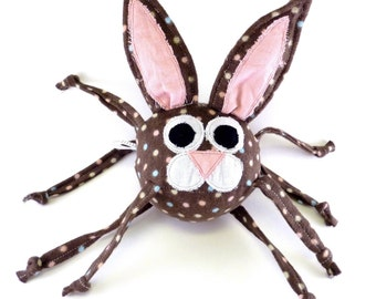 Bunny rabbit with crinkle ears, baby toy, knotted strings, chocolate brown with polka dots, personalization, squeaker, pink, stuffed animal