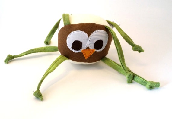 Owl Stuffed Animal Baby Toy With Knotted Strings Brown Etsy