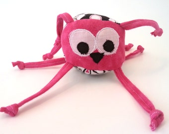 Stuffed Animal, Ball Toy, Pink, black, white, bird, hearts, flowers, unique, soft, handmade, baby toy, strings, personalization