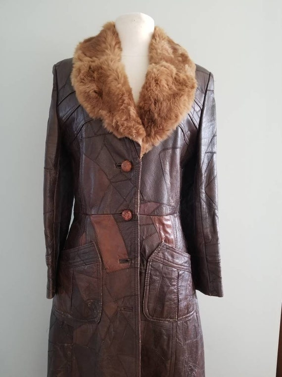Patchwork Leather Trench with fur collar 1970s
