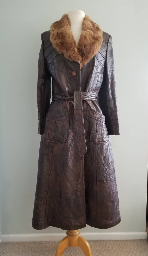 Patchwork Leather Trench with fur collar 1970s - image 2