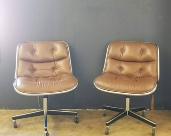 Mid Century Knoll leather/ chrome chairs