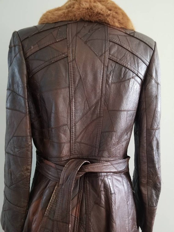 Patchwork Leather Trench with fur collar 1970s - image 6