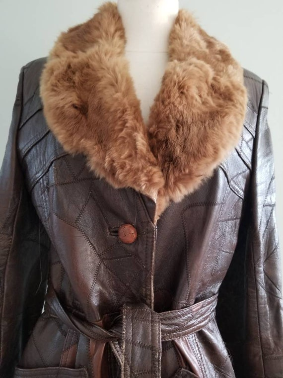 Patchwork Leather Trench with fur collar 1970s - image 5
