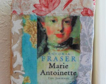 Paper & Vintage Fabric COLLAGE on Canvas: MARIE-ANTOINETTE and Lotus Flower, Handmade by Yael Bolender