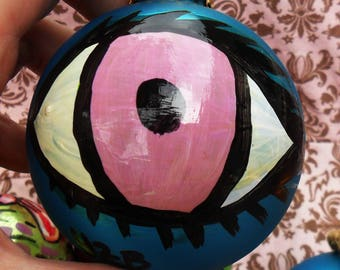 One-Of-A-Kind Painted EYE on a Big Vintage Christmas BALL, Lilac on Turquoise Blue, Twine To Hang, by Yael Bolender