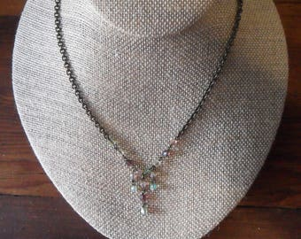 Delicate Vintage 80's POGGI Paris NECKLACE, Transparent Pastel Beads & Antique Bronze Tone Metal Chain