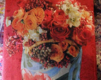 Customized JOURNAL NOTEBOOK Altered, Decorated w/ Roses on Red Indian Paper Collage & Stencil, by Yael Bolender