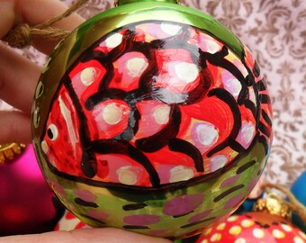 One-Of-A-Kind Painted FISH on a Big Vintage Christmas BALL, Red, Pink on Green, Twine To Hang, by Yael Bolender