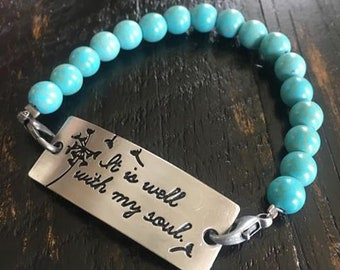 It Is Well With My Soul Christian Scripture Turquoise Aqua Beaded Charm Bracelet Encouragement Gift