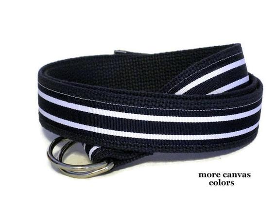 Blue Striped Belt Navy Blue Canvas Belt Blue Striped D ring Belt Preppy Khaki Ribbon Belt for men women teens Big & Tall (Hampton)