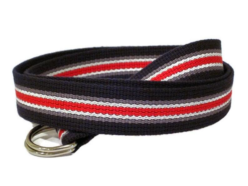 Red White and Blue Striped D Ring Webbing Belt for Men & Boys