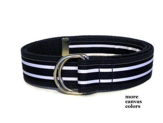 Boys Navy Canvas Belt, Teen Web Belt Navy and White Hampton Striped D Ring Belt in Khaki Navy White, Preppy Belt for boys and toddlers