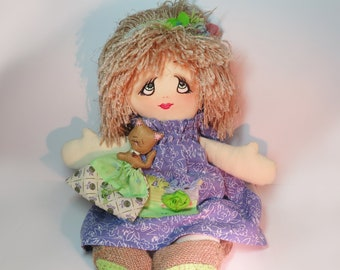 Handmade Fabric Folk Art Cloth Rag Doll Bitsy Flat Pet Soft Wool Felt Cat Kitten FREE SHIPPING Gift Home Decor