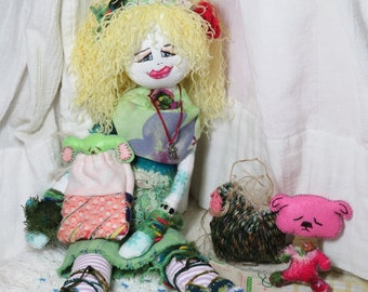 Handmade Fabric Folk Art Rag Doll With 2 Flat Pets Dogs Pups Boho Bohemian Hippie Girl Gift Home Decor