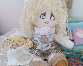 Handmade Cloth Art Rag Doll Flat Pet Bunny Soft Wool Felt Hand Sewn Country Folk Art Home Decor Bitsy Gift